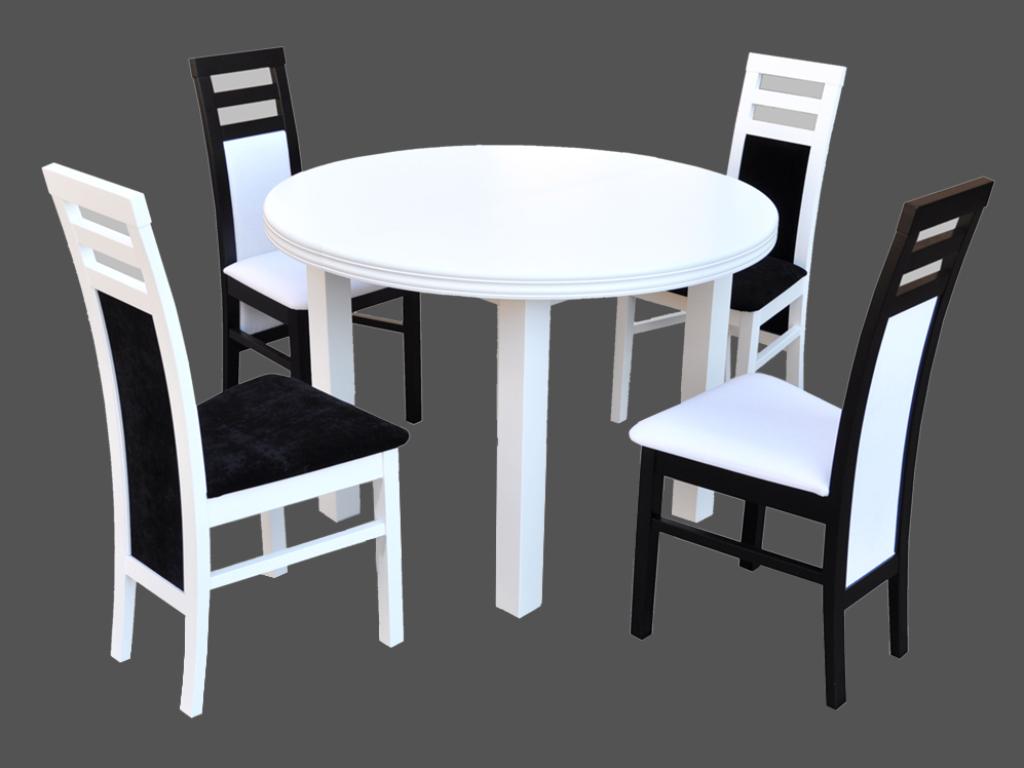 Elegancki Zestaw 4 Krzesła A 46 I Okrągły Rozkładany Stół A 24